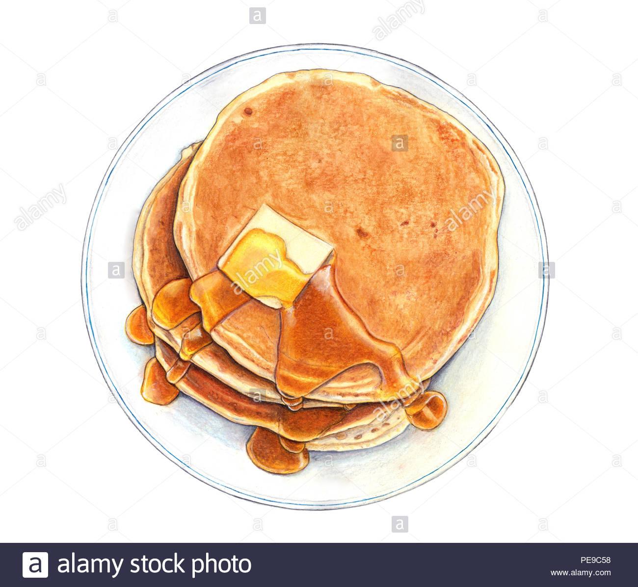Illustrazione di cibo con enfasi sul realismo, di brillantezza dei colori e texture. Mixed media Tecnica di acquarelli, matite colorate, pastelli morbidi e Immagini Stock