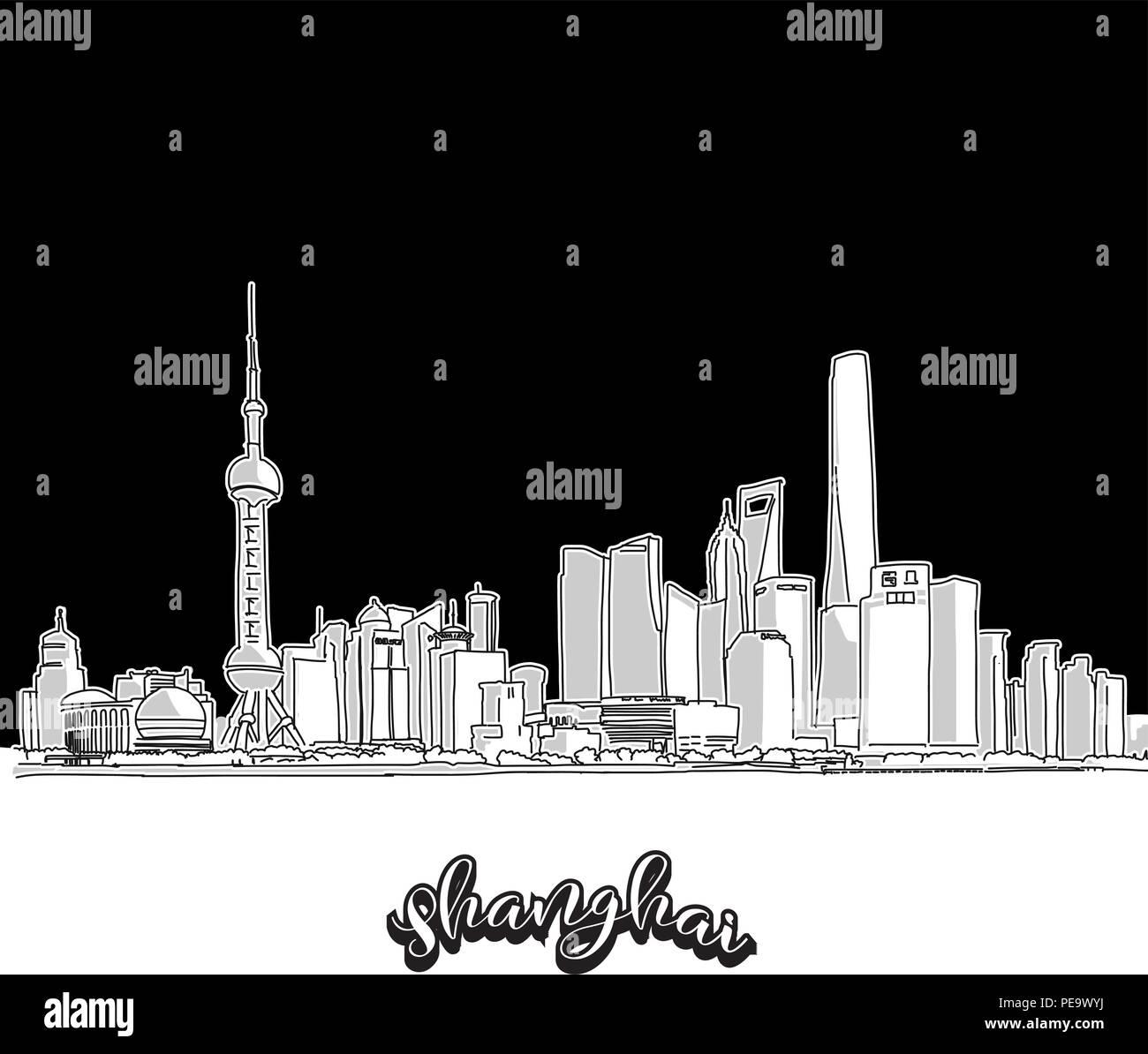 Vettore Di Disegno Della Città Di Shanghai Del Contorno