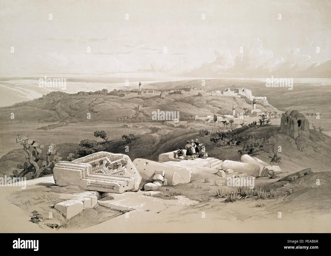 La striscia di Gaza. Dopo un lavoro di artista scozzese David Roberts, 1796-1864 e litografo belga Louis Haghe, 1806-1885. Immagini Stock