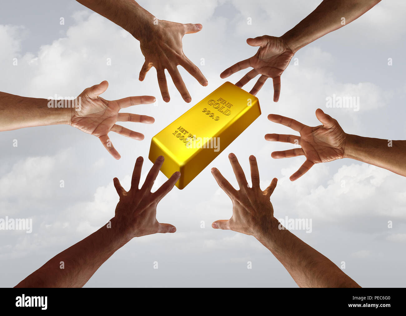 La domanda di oro e merce globale di investimenti finanziari e di business del concetto di commercio come diverse mani di raggiungere per un golden bar. Immagini Stock