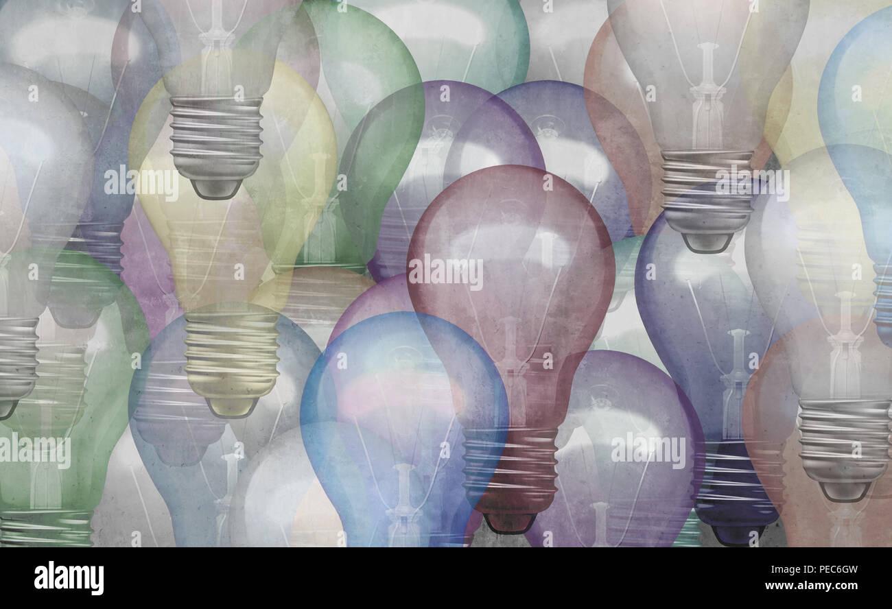 Idea astratta nozione come uno sfondo con texture grunge lampadina oggetti come un business brainstorming e concetto di brainstorming o marketing. Immagini Stock