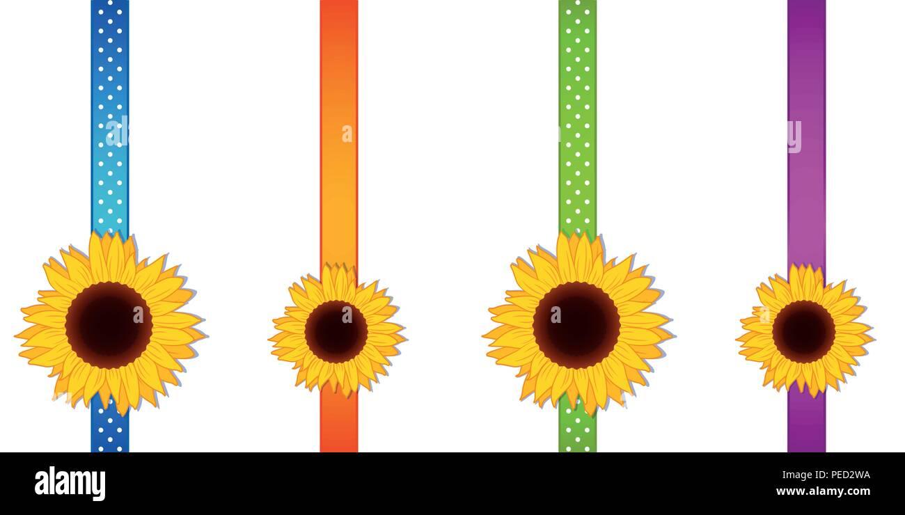 Girasole decorazione a nastro impostata illustrazione vettoriale EPS10 Illustrazione Vettoriale
