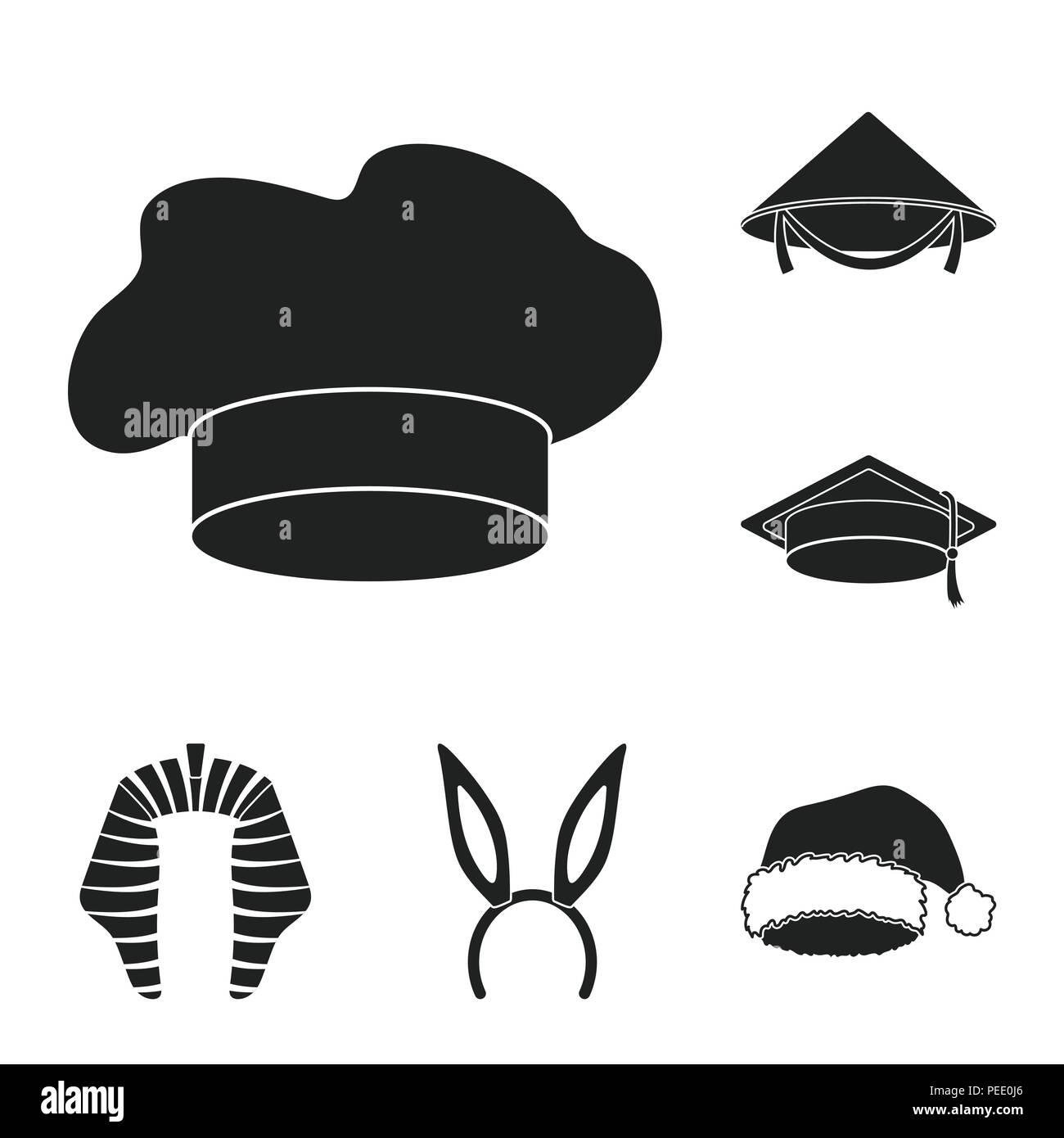 Diversi tipi di cappelli icone nere in set di raccolta per design.copricapo  simbolo vettore illustrazione stock. 76bf6c9e6ccd