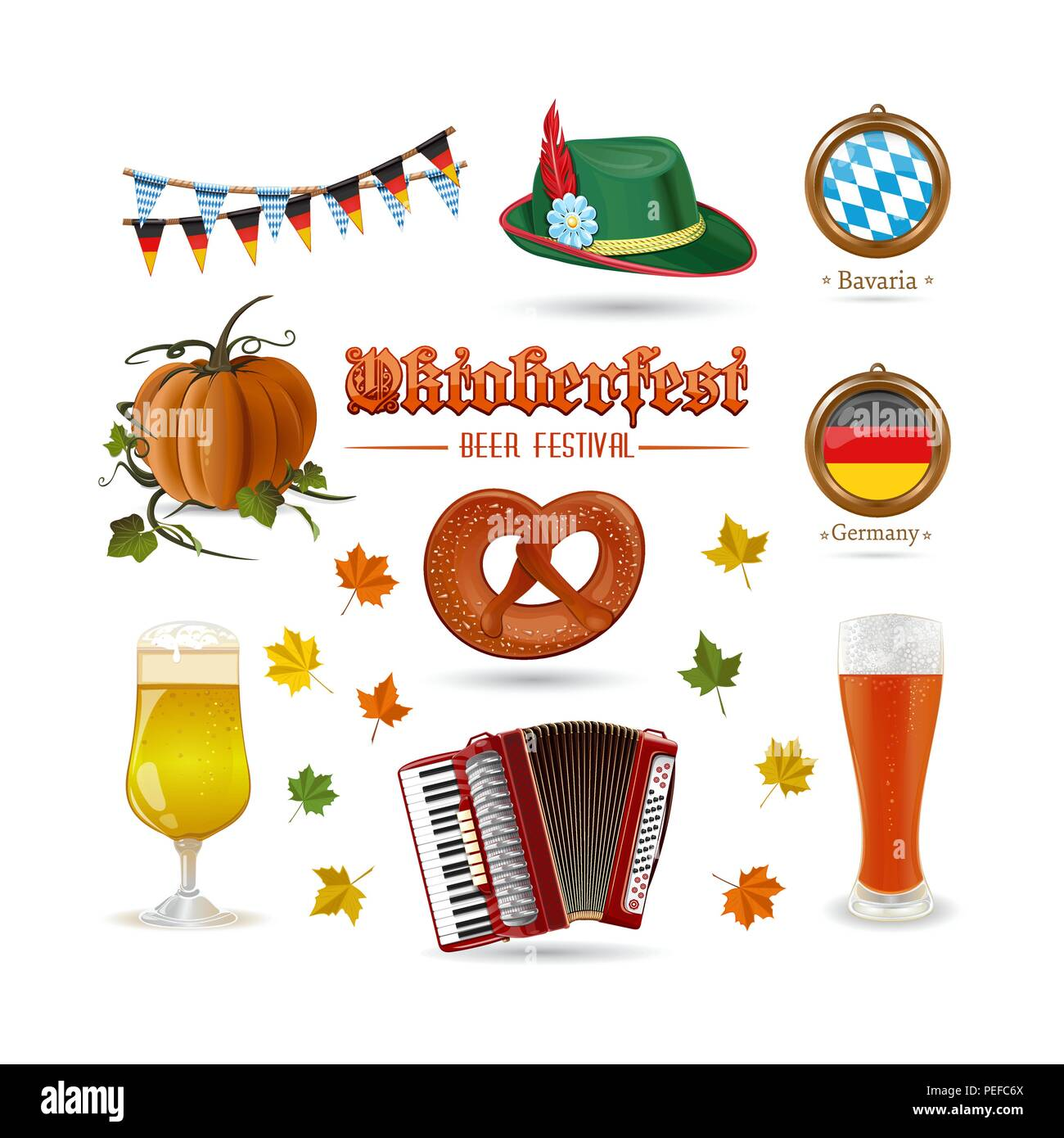Oktoberfest icon set. Set di colorate icone vettoriali isolati su sfondo  bianco Immagini Stock 06239b5194a5
