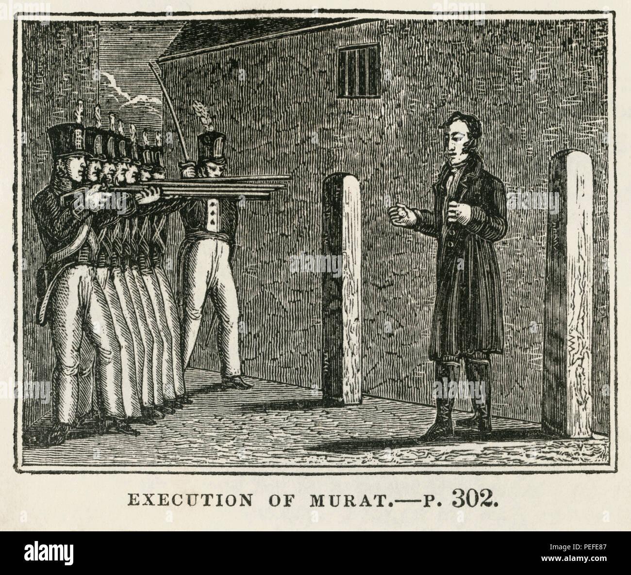 Esecuzione di Murat, illustrazione dal libro, Cabinet storico, LATO SINISTRO Giovane Editore, New Haven, 1834 Immagini Stock