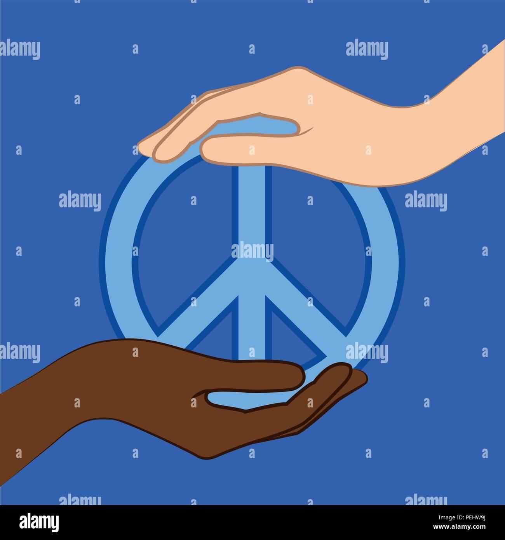 Pace Bianco E Nero bianco e nero a tenere in mano il simbolo di pace blue
