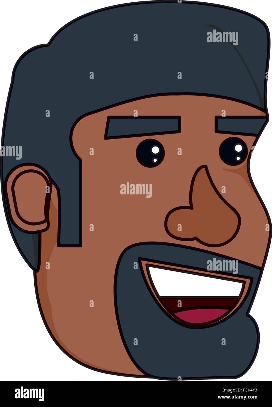 Cartoon uomo con barba su sfondo bianco illustrazione vettoriale