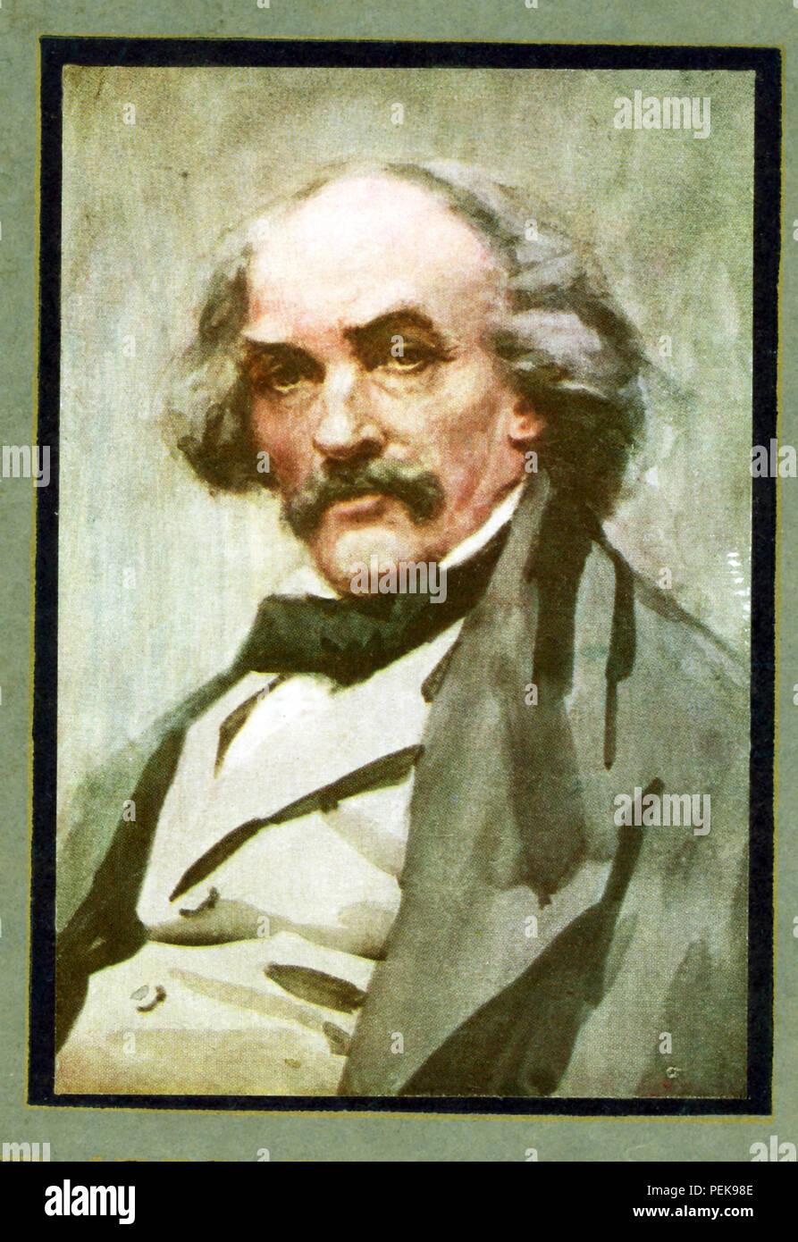 Nathaniel Hawthorne (1804-1864) era un americano romanziere e novelliere. Il suo Wonder-Book e Tanglewood Tales sono figli di classici. Scrisse anche la lettera scarlatta, Blithedale Romance, la casa di sette Gables, il Fauno in marmo. Con la sua superba creazione di buio e tinte atmosfera, il suo simbolismo e la sua miscela di dettagli realistici e romantico-anche tema melodrammatica, Hawthorne si erge come uno di America's top romanzieri. Questa immagine di Hawthorne risale ai primi anni del Novecento. Immagini Stock