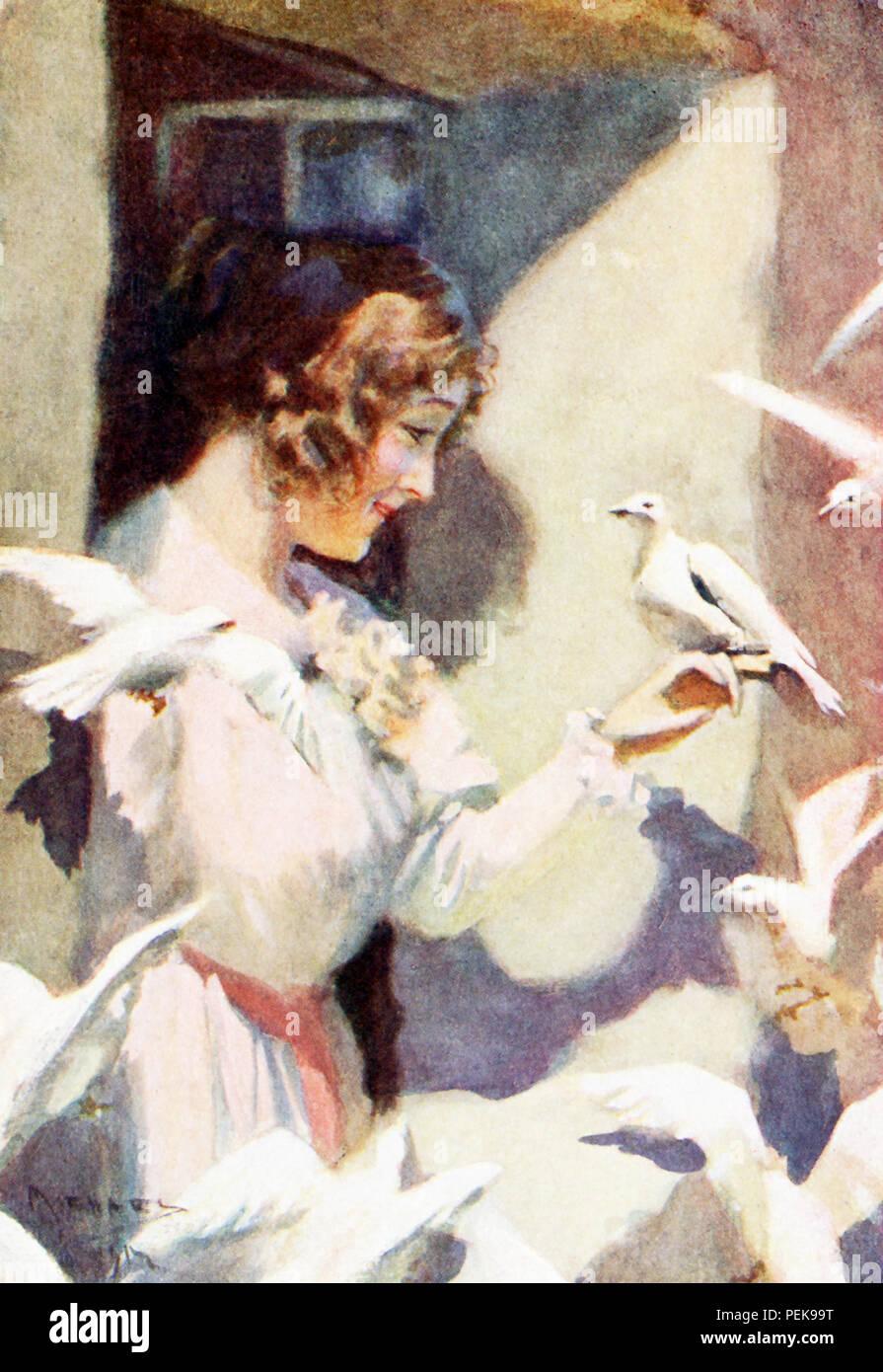 Questa illustrazione risale ai primi anni del Novecento e mostra Hilda con colombe, il racconto di Hilda si trova in Nathaniel Hawthorne è il Fauno in marmo, noto anche come il romanticismo del Monte di Beni. La didascalia recita: essi divennero ben presto familiarità con il sassone fairhaired ragazza come se fosse nato sorella di la loro covata. - Trasformazione. Nathaniel Hawthorne (1804-1864) era un americano romanziere e novelliere. Il suo Wonder-Book e Tanglewood Tales sono figli di classici. Scrisse anche la lettera scarlatta, Blithedale Romance, la casa di sette Gables, il Fauno in marmo. Con la sua superba creazione di buio e tinte di un Immagini Stock