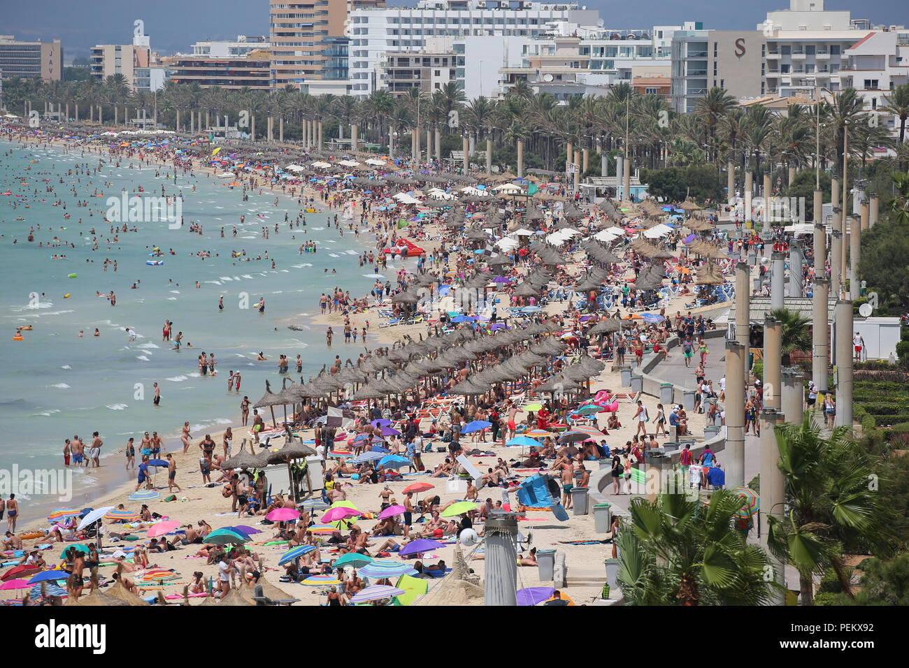 Vista generale sopra la spiaggia turistica di El Arenal nell'isola spagnola di Maiorca. Foto Stock