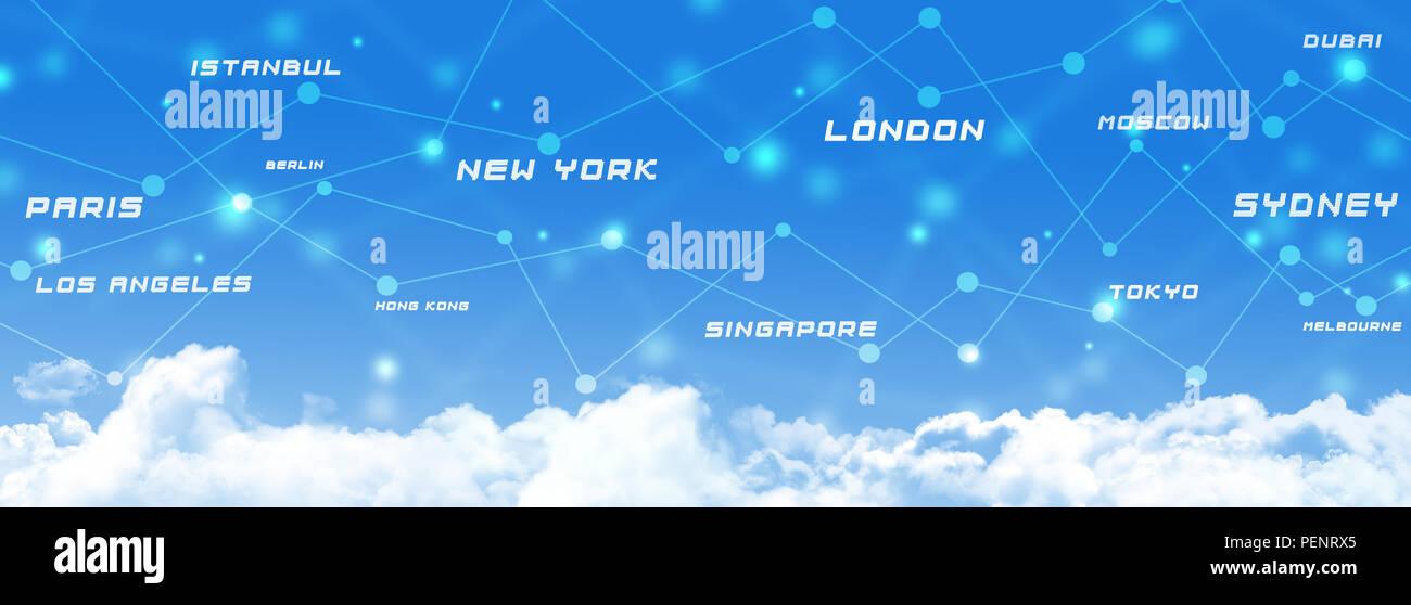 Globali in materia di aviazione collegamenti ai mezzi di trasporto business sky banner Immagini Stock