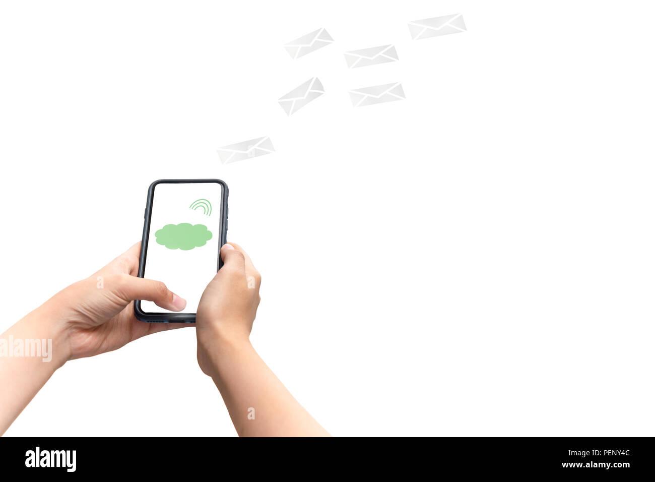 Mano Concettuale Tramite Telefono Cellulare Con Icona Digitale