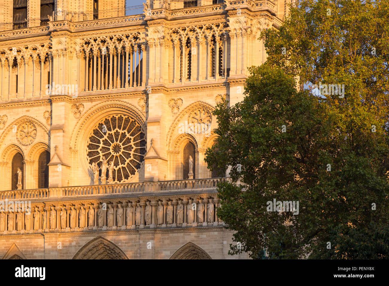 Impostando la luce solare sulla facciata anteriore della cattedrale di Notre Dame, Paris, Francia Immagini Stock
