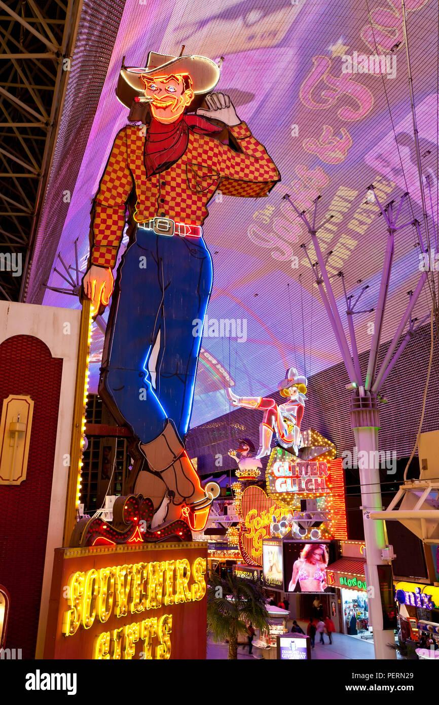 Stati Uniti d'America, Nevada, Las Vegas, il Fremont Street Experience in Downtown Las Vegas Immagini Stock