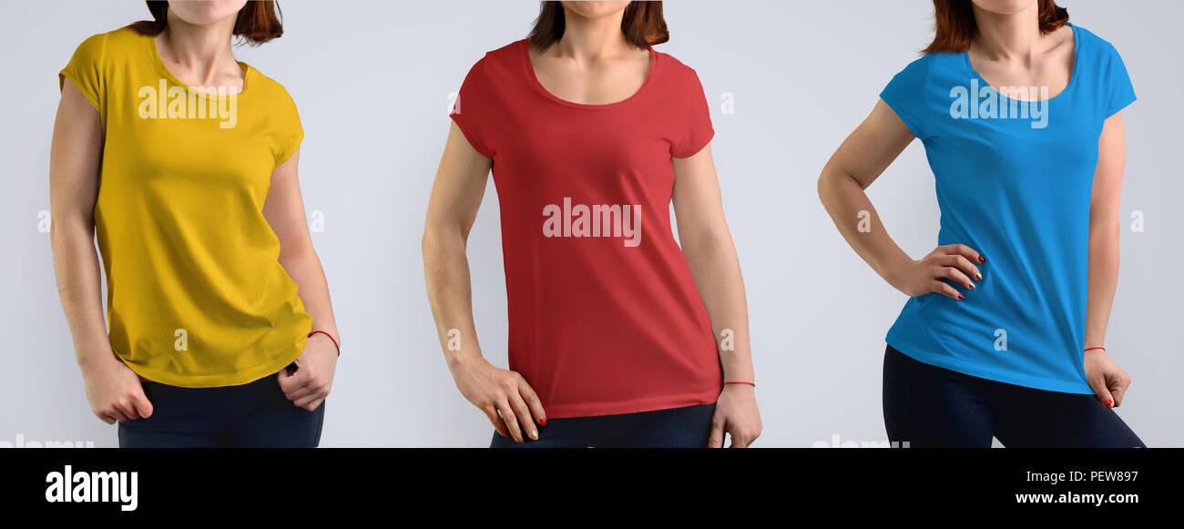 fa82b1511bb3a5 Femmina set mockup con slim giovane donna nel colore t-shirt isolato sullo  sfondo per studio, vista frontale. Include tre combinazioni di colori: rosso,  ...
