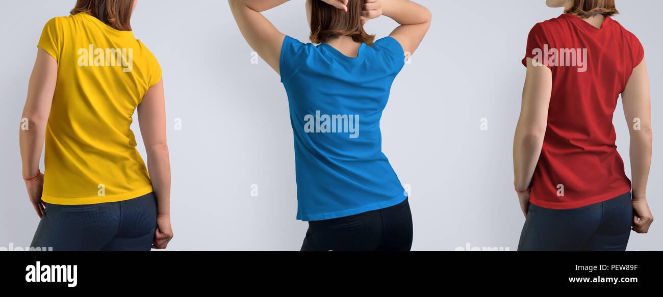 5b3adeb46f78c8 Mockup impostato con active bella donna nel fustellato t-shirt isolato su  sfondo grigio, include tre combinazioni di colori: rosso, blu, giallo.