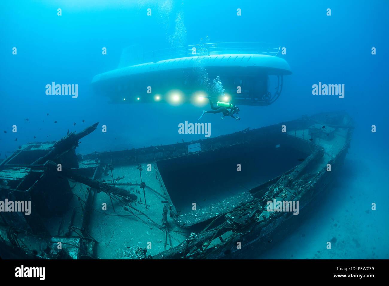 Un subacqueo nuota oltre i Cartaginesi, un punto di riferimento di Lahaina, che fu affondato come una barriera corallina artificiale off Lahaina, Maui, Hawaii nel dicembre 2005. L'Atlantis s Immagini Stock