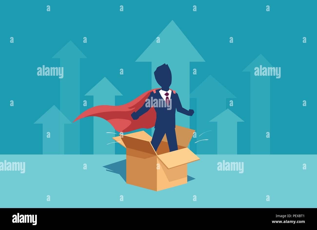 Vettore di un imprenditore dipendente aziendale come un super eroe pensando al di fuori della scatola ha idee per la carriera personale e la crescita del business Immagini Stock