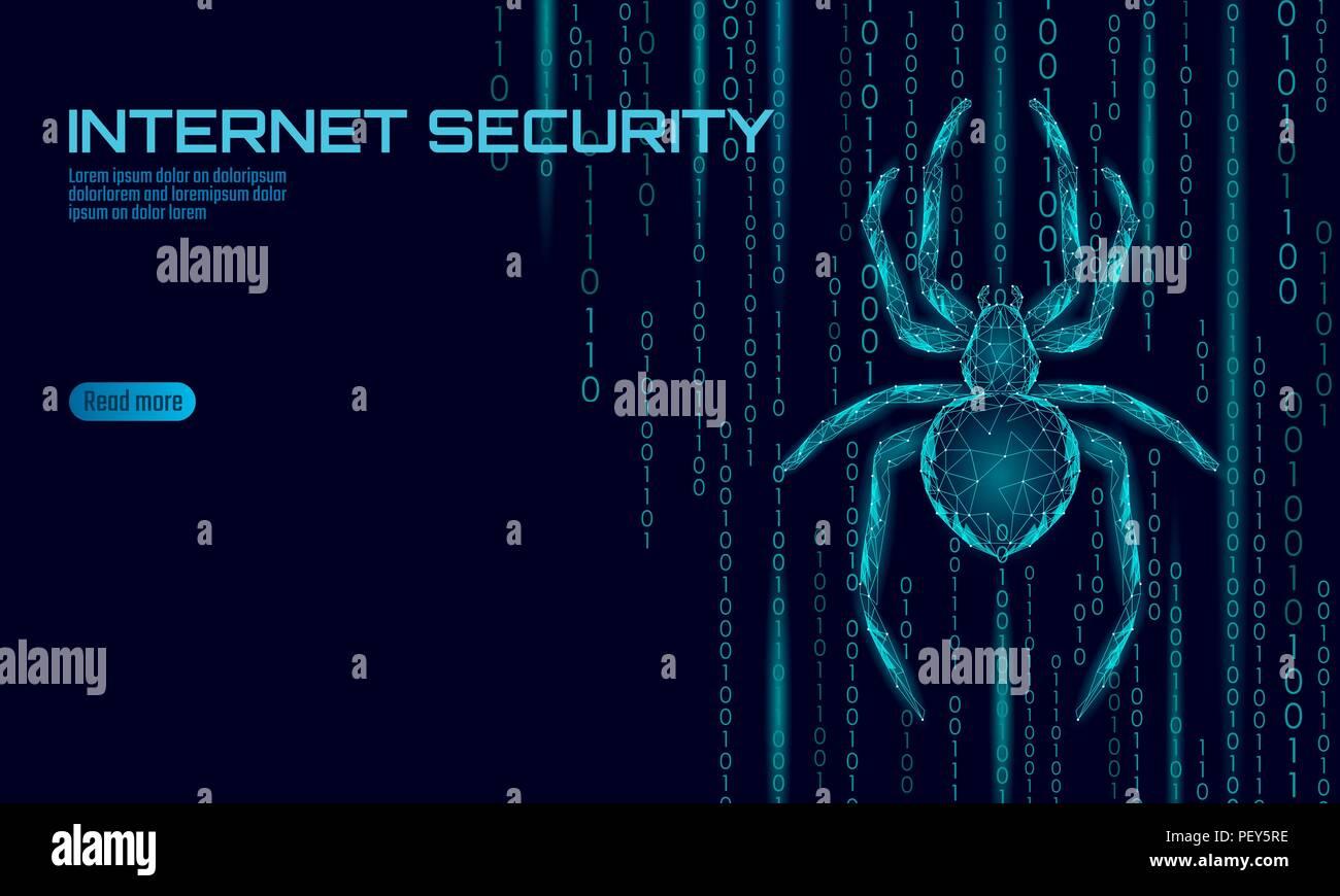 Bassa poli spider attacco hacker pericolo. Sicurezza Web dati virus antivirus sicurezza concetto. Poligonale design moderno concetto di affari. La criminalità informatica web bug insetto tecnologia illustrazione vettoriale Immagini Stock
