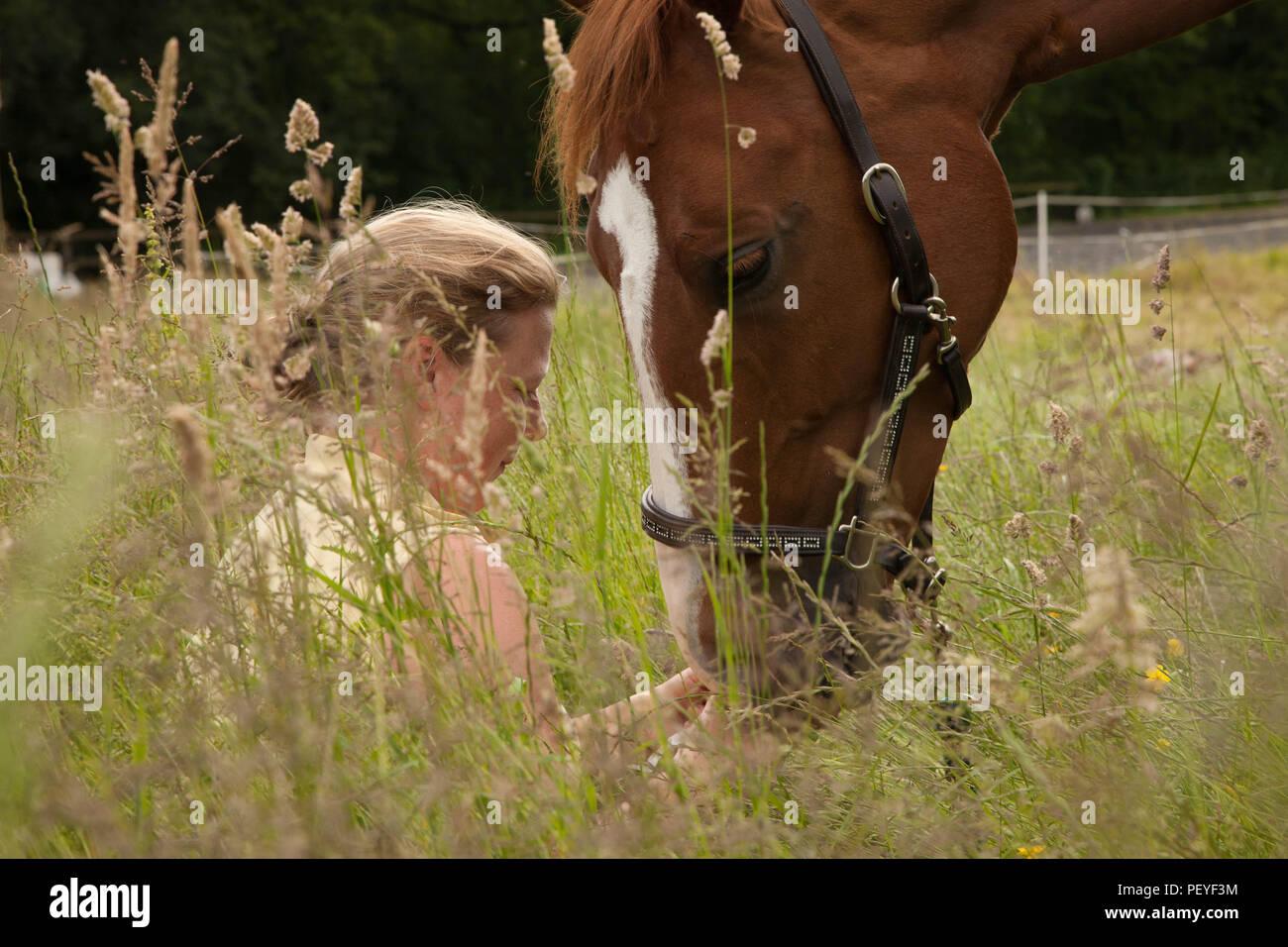 Para Dressage rider Marcelle Ward cavallo in prato con ragazza Immagini Stock