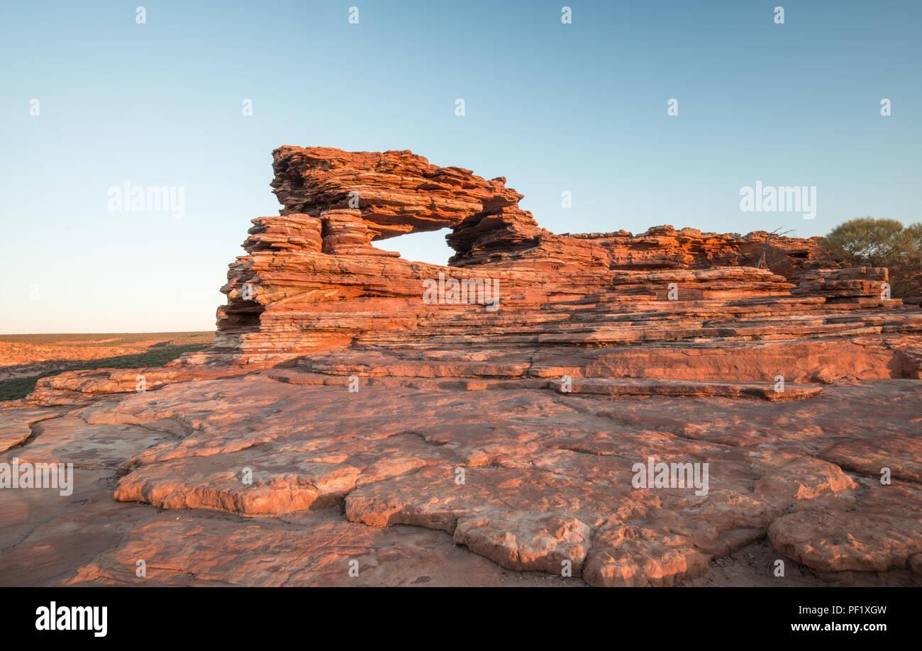 Ampio angolo di natura della finestra a kalbarri National Park WA Western Australia Oceania Immagini Stock