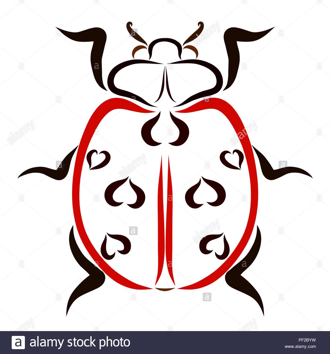 Red Ladybug Con Un Disegno A Forma Di Cuore Foto Immagine Stock