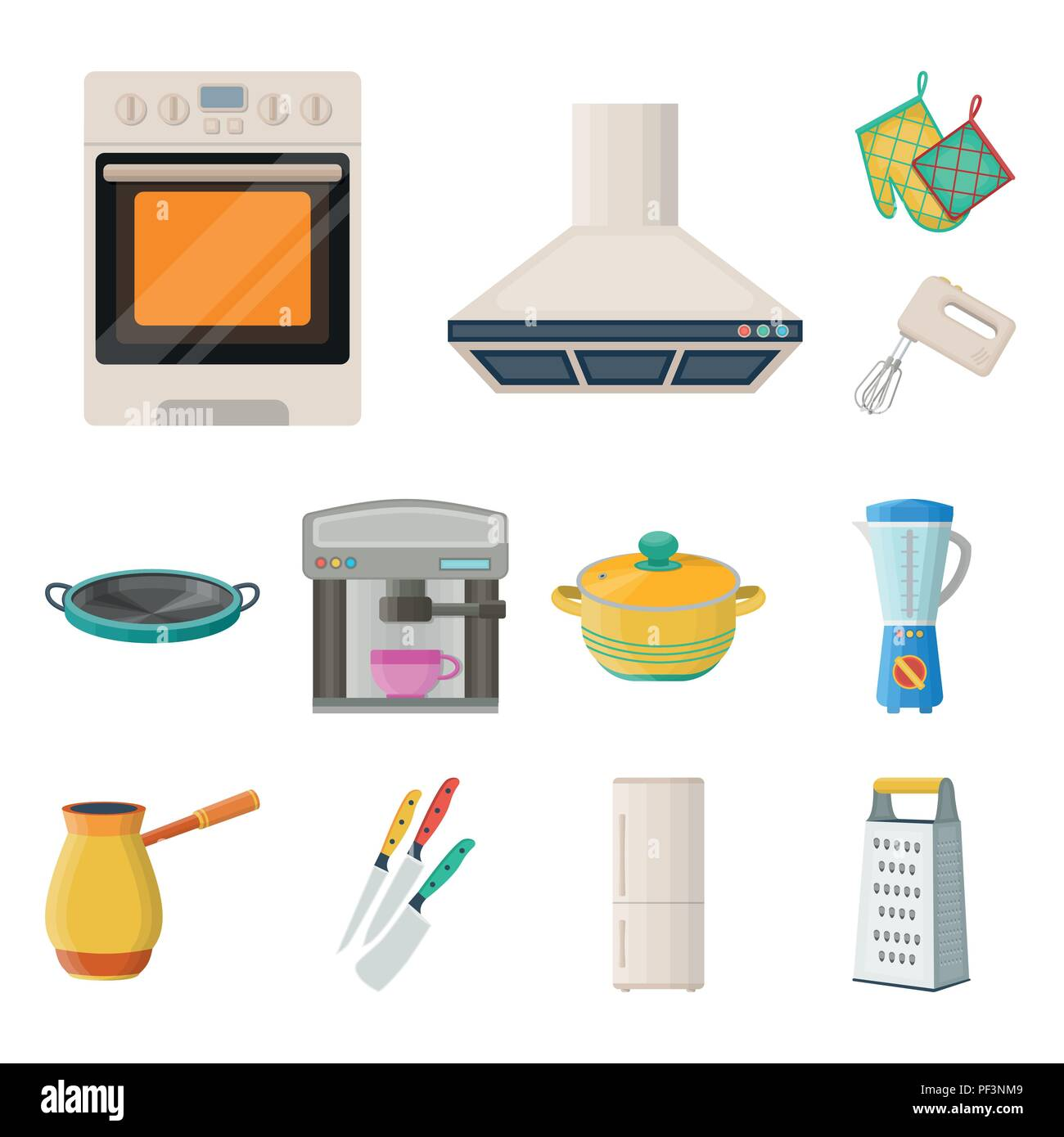 Attrezzature di cucina cartoon icone nella raccolta di set per il ...