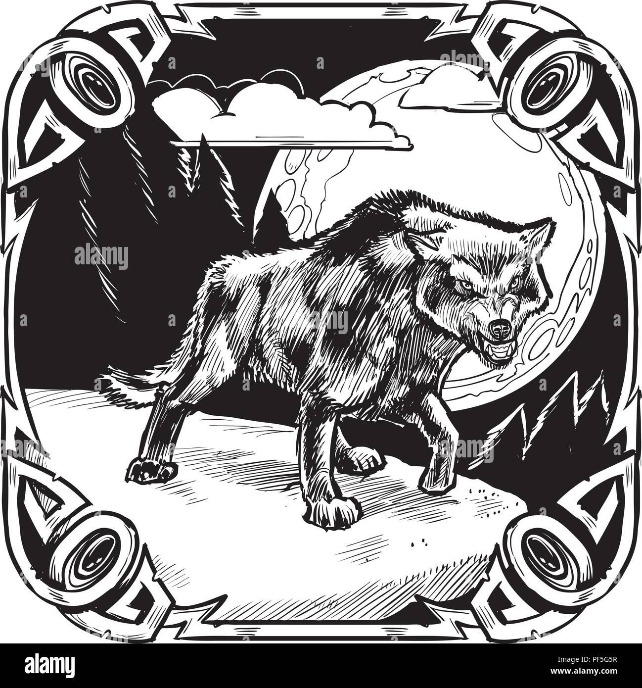 Vector cartoon clip art illustrazione di un brontolio lupo arrabbiato di  fronte a una luna piena 8bc17e525652
