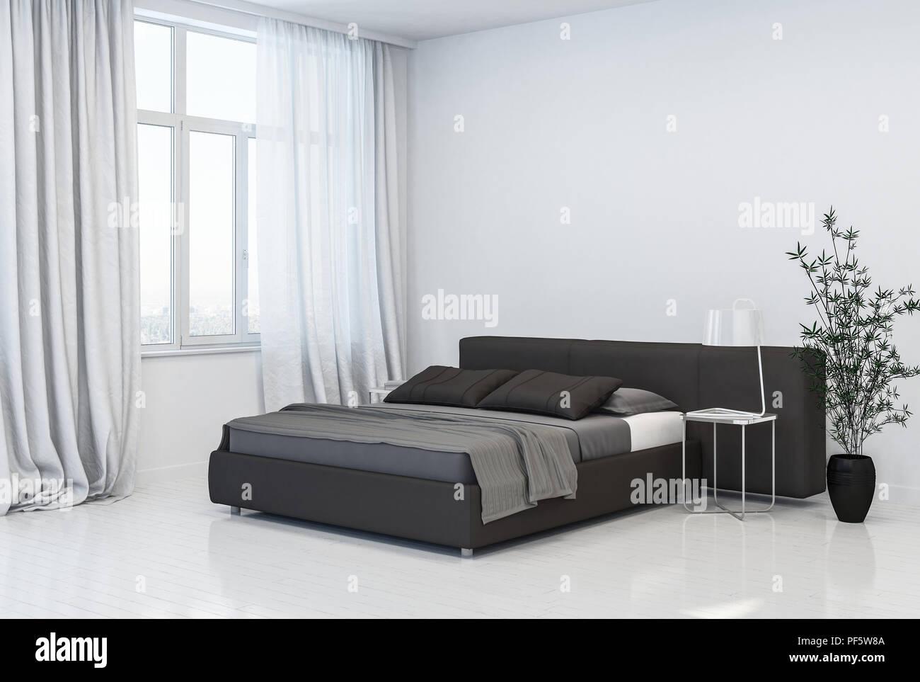Spaziosa ed elegante monocromatico grigio e bianco interiore camera ...