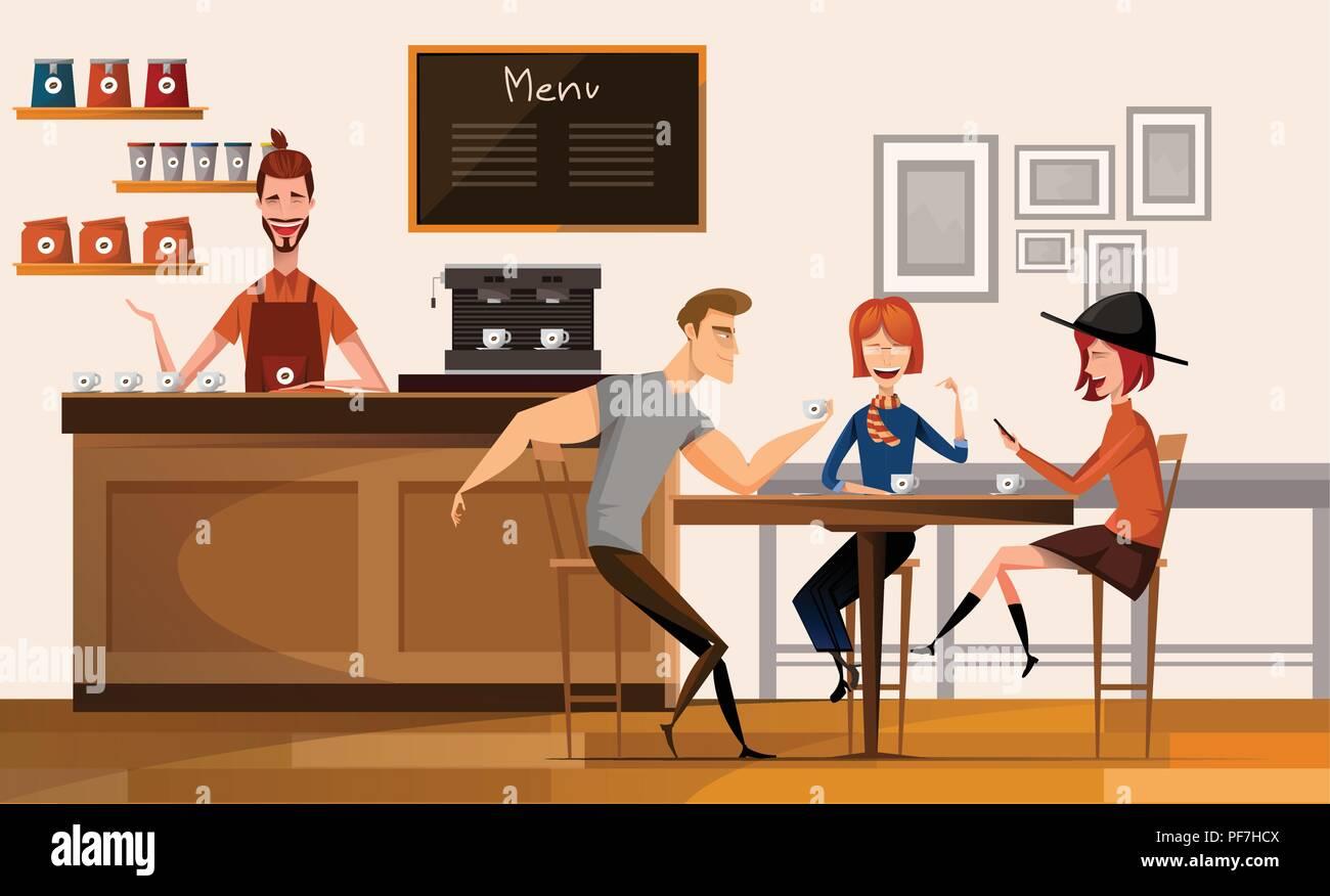 Persone nella moderna caffetteria o cafe nel centro Campus universitario  moderno interno sul posto di lavoro piatta illustrazione vettoriale. d2f4d8ff4ba