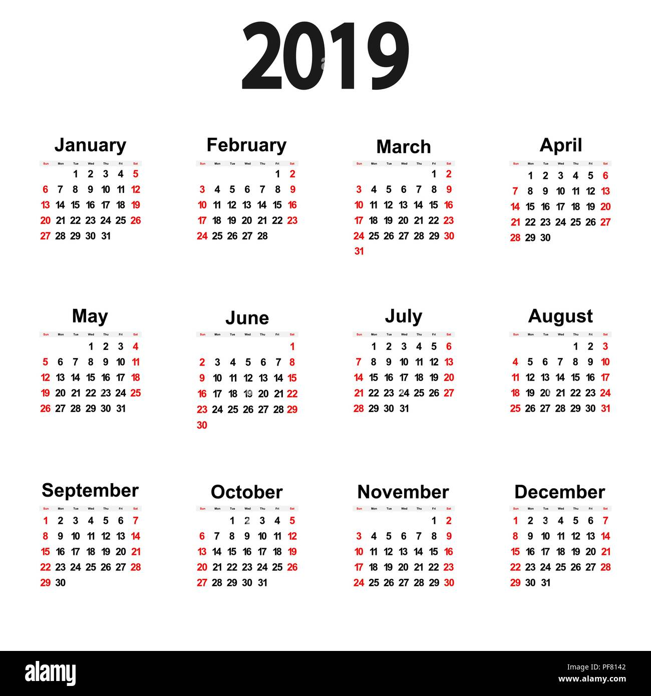 Calendario Da Parete Grande.Grande Il Nuovo Calendario Da Parete 2019 Illustrazione