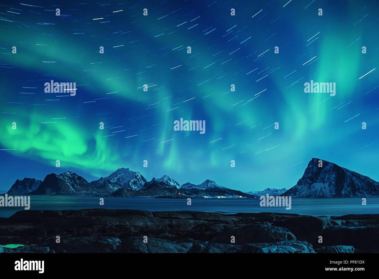 Luci del nord in Norvegia Foto Stock