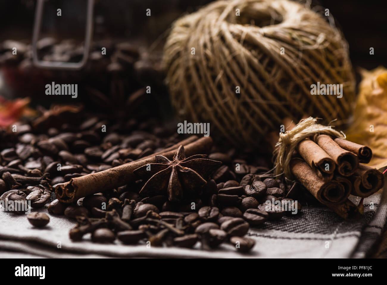 I chicchi di caffè con cannella, stella di anice stellato e chiodo di garofano Immagini Stock