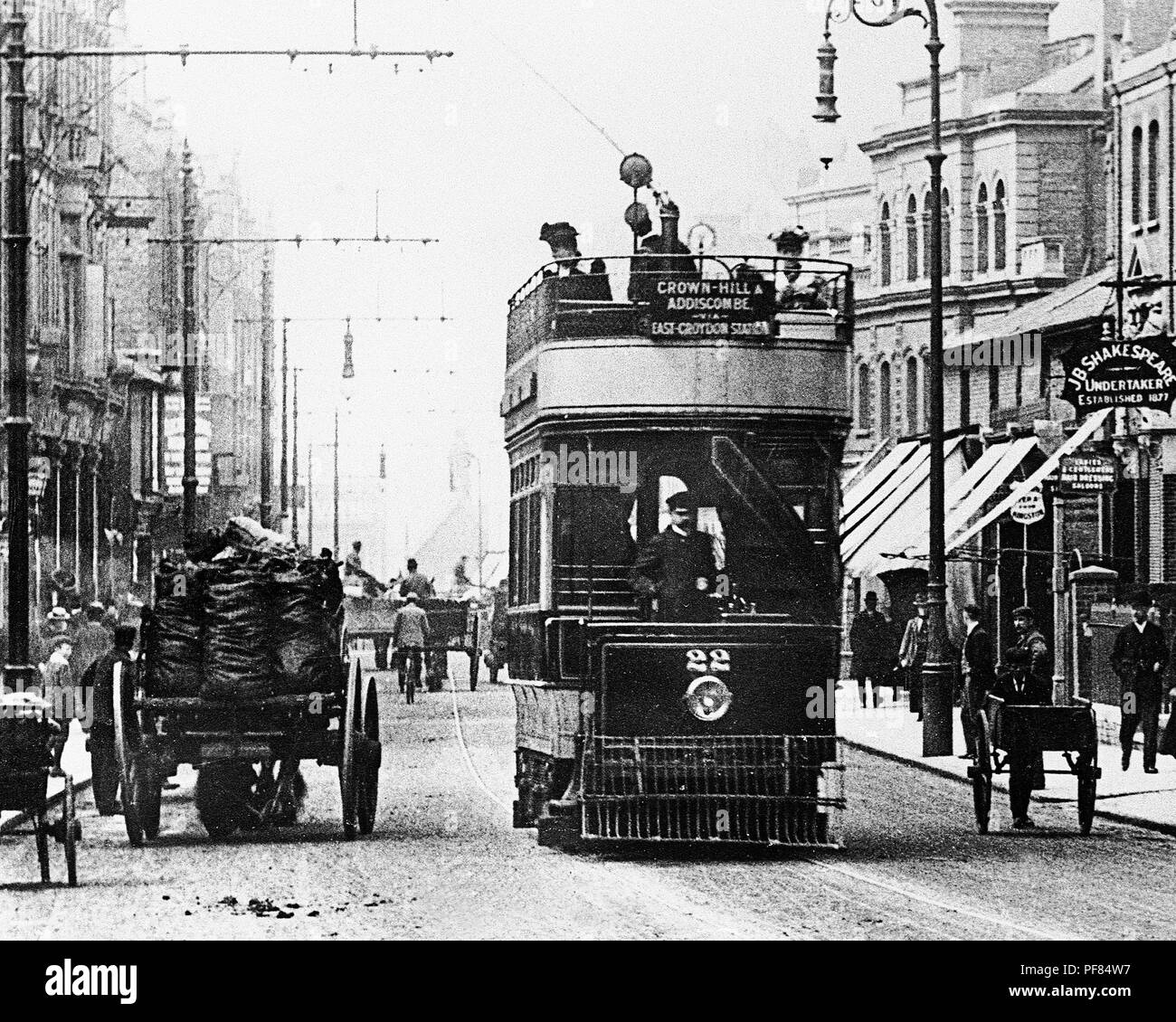 George Street, Croydon, agli inizi del novecento Immagini Stock