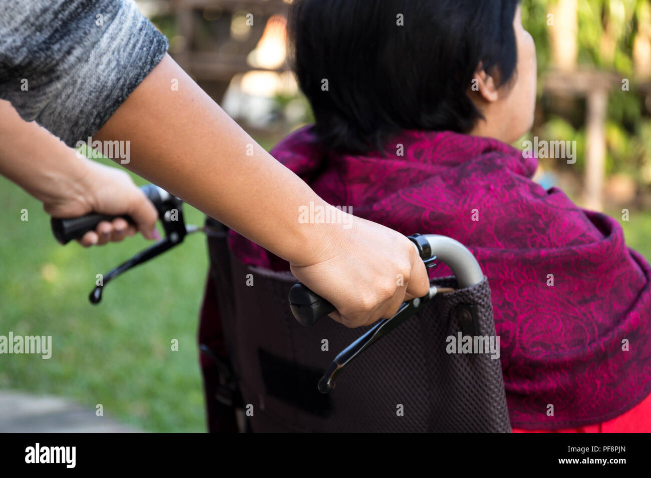 Custode spingendo senior donna in sedia a rotelle Immagini Stock