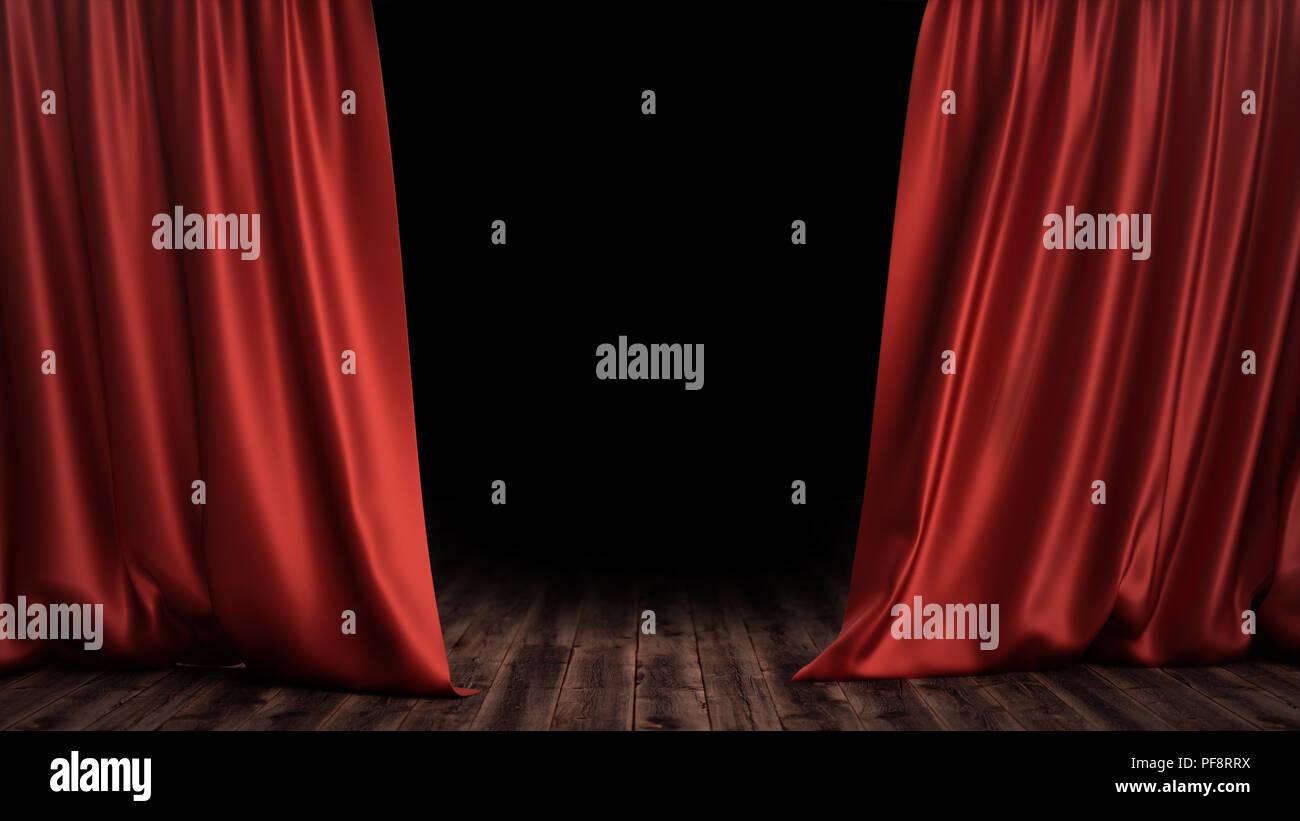 Tende In Velluto Di Seta 3d illustrazione di lusso di seta rosso tende di velluto