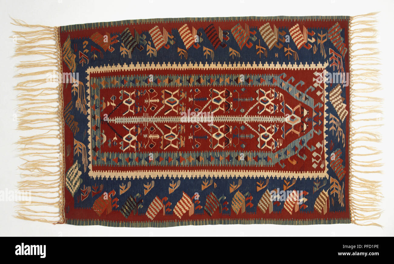 Tappeti Kilim Moderni : Kilim moderni tappeto con frange vista dall alto foto immagine