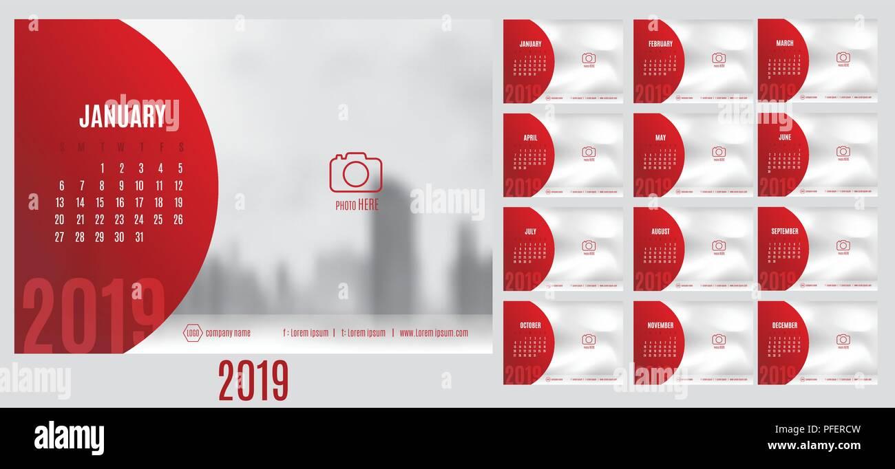 Calendario 2019 Moderno.Vettore Del Calendario 2019 Anno Con 12 Mesi Di Calendario