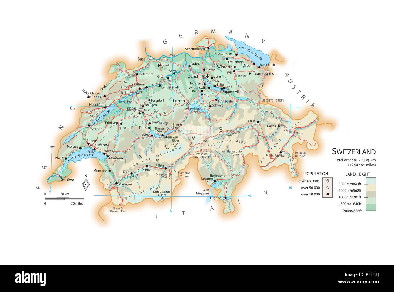 La Cartina Geografica Della Svizzera.Cartina Della Svizzera Foto Stock Alamy