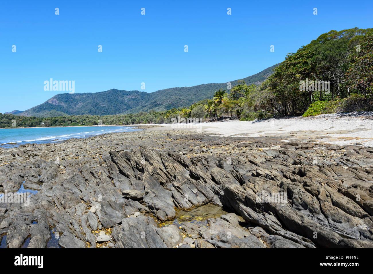 Il pittoresco litorale collinare, con una spiaggia e palme vicino a Port Douglas, estremo Nord Queensland, FNQ, QLD, Australia Immagini Stock