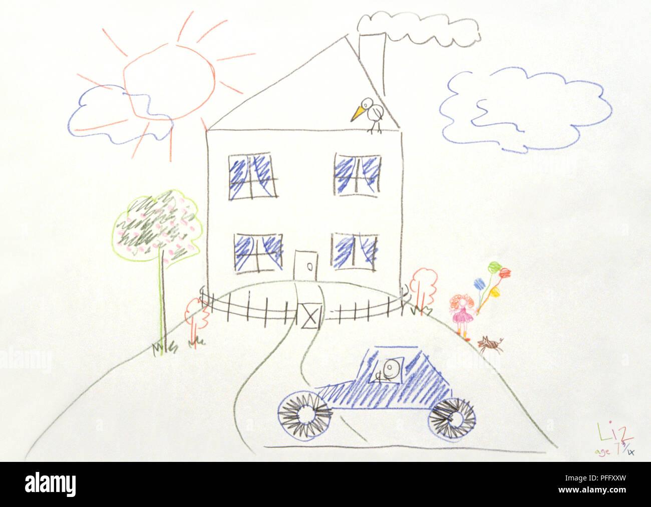 Bambino Il Disegno Di Una Casa Su Una Collina Il Sole Le Nuvole E