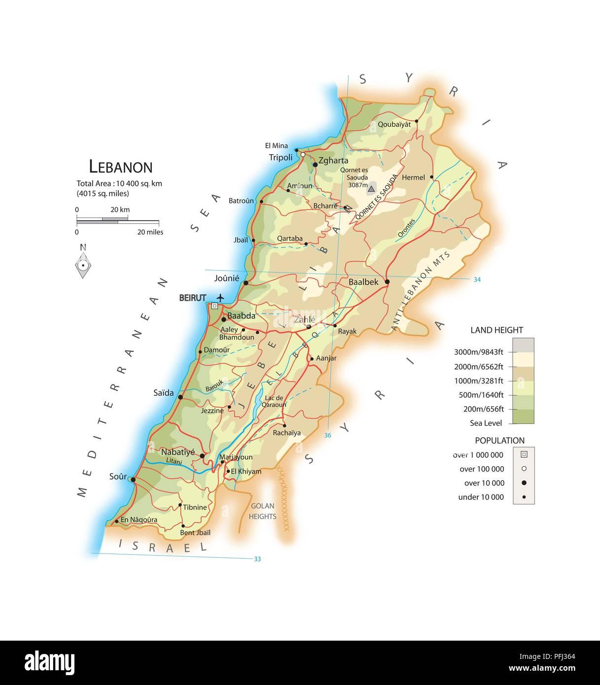 Cartina Del Libano.Mappa Del Libano Foto Stock Alamy