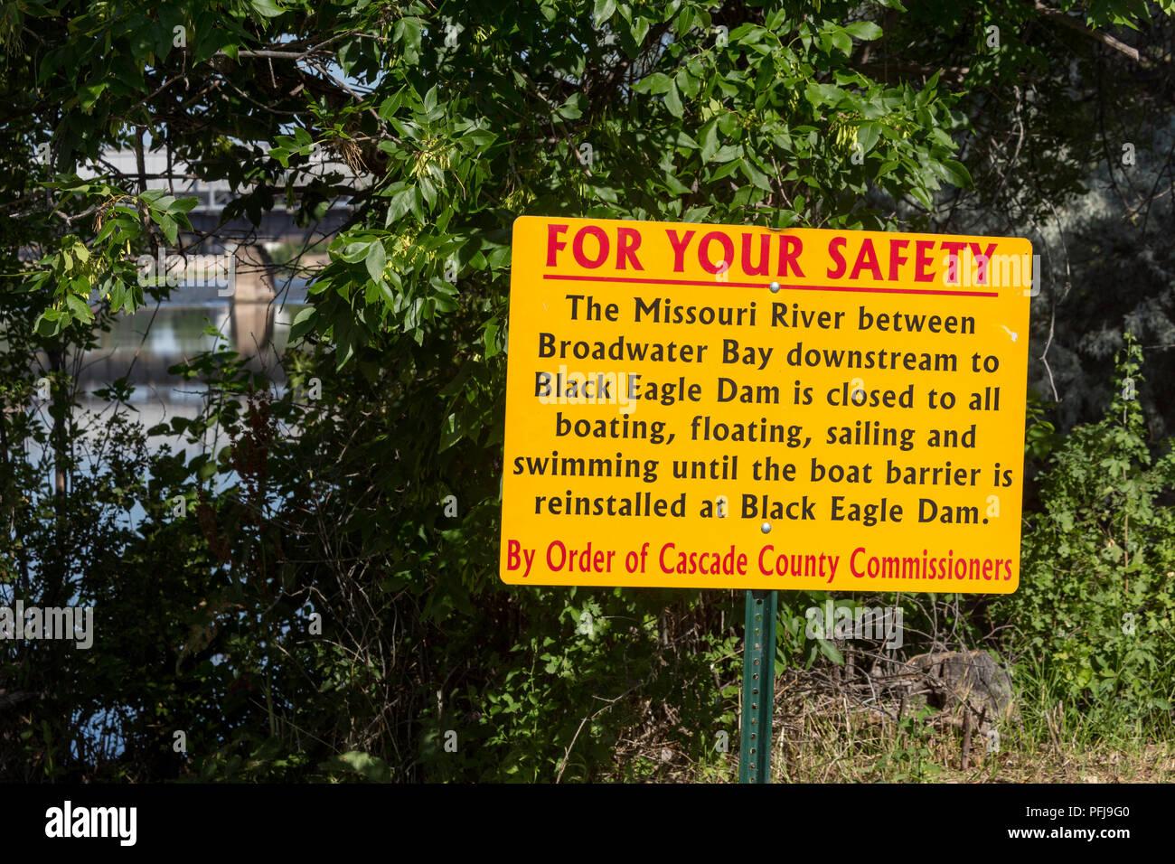 Segnale di sicurezza attività di blocco sul fiume Missouri, Great Falls, STATI UNITI D'AMERICA Immagini Stock