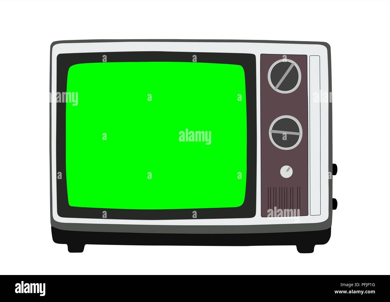 Vintage degli anni settanta televisione portatile illustrazione vettoriale con chroma key green screen. Immagini Stock