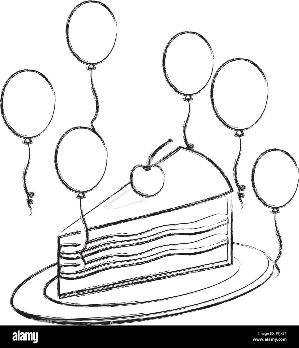 Pezzo Di Compleanno Torta Con Cherry E Palloncini Decorazione