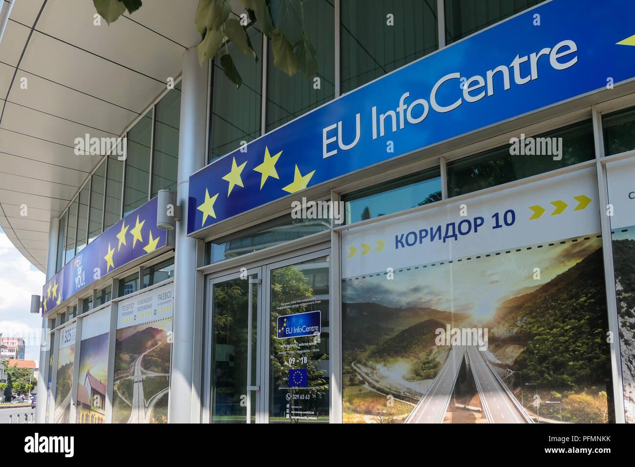 EU Info Center, Skopje, Macedonia Immagini Stock