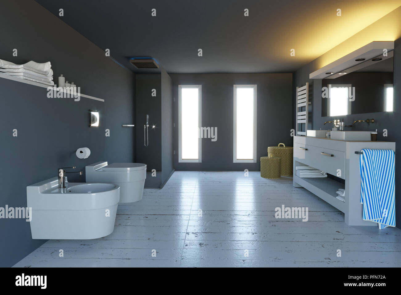 Stock Di Arredo Bagno.Moderno Bagno Completo Di Sanitari Doccia E Accessori Di