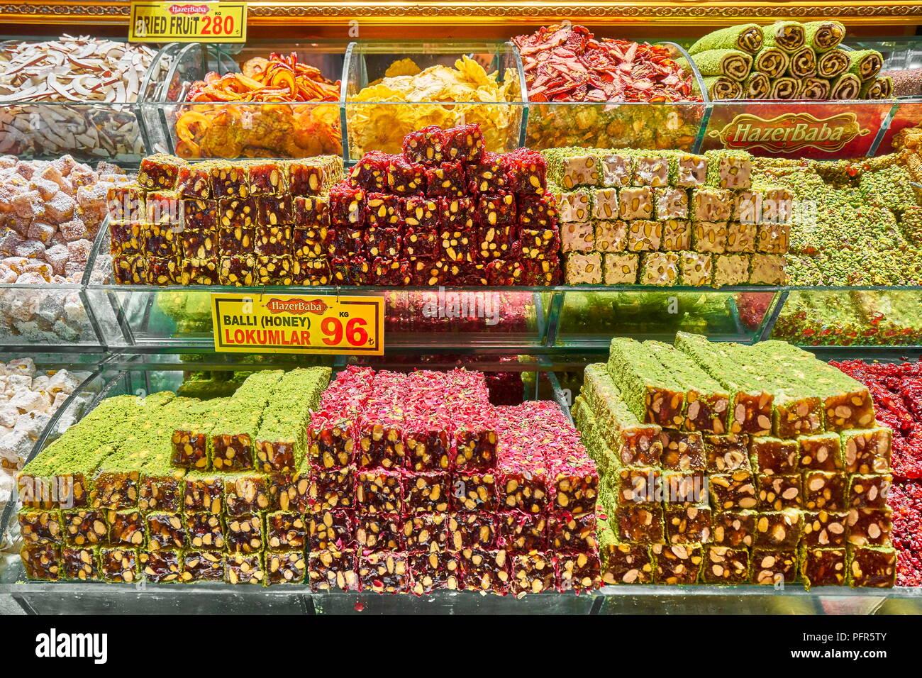 Caramelle al Bazaar Egiziano, Istanbul, Turchia Immagini Stock