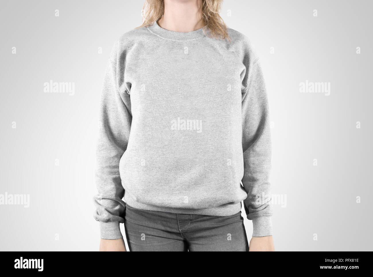 Felpa vuoto mock up isolato. Femmina normale usura hoodie mockup. Felpa con cappuccio semplice design presentazione. Cancellare allentato modello globale. Pullover per la stampa. Abbigliamento uomo felpa modello indossa un maglione Immagini Stock