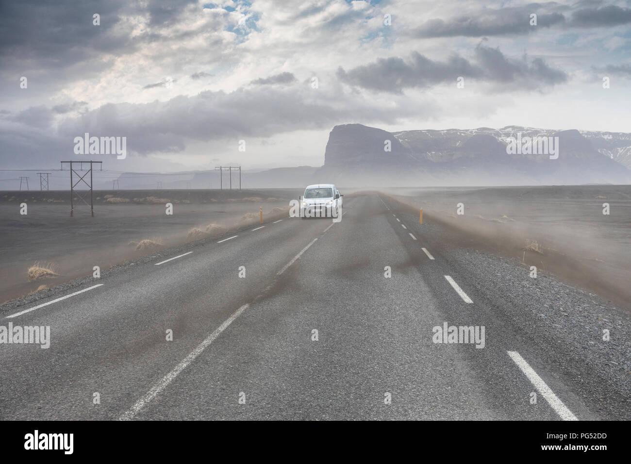 Islanda tempesta di sabbia Immagini Stock